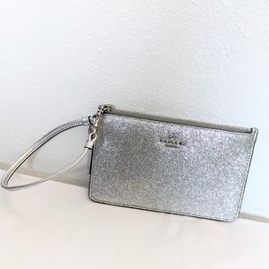 Coach Glitter Wristlet Silver Holiday Event